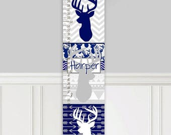 Canvas GROWTH CHART Navy Grey Deer Patterns Kids Bedroom Nursery Personalized Kids Growth Chart Height Chart GC0319