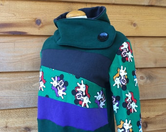 Hoodie Sweatshirt Sweater Handmade Recycled Upcycled One of a Kind MOUSE Ladies LARGE - Cartoon Mouse Forest Green