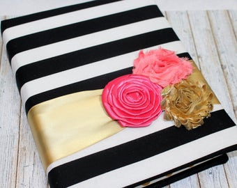 Bridal Shower Guest Book/ Black, White and Gold Guest Book / Black and White Stripes / Coral and Pink Floral / Gold Polka Dots / Advice Book