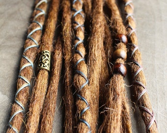 10 Custom Standard *Clip-in or Braid-in Synthetic Dreadlock Extensions Boho Dreads Hair Wraps & Bead (Strawberry 30 and Caramel 27)