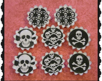 SKULL & CROSSBONES Soap Set Of 8 * Goth * Gothic * Pirates * Home Decor * Birthday Wedding Party Favors * Bulk Or Gift Ready * Unscented