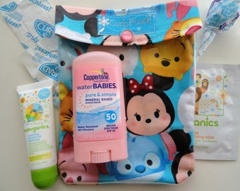 Tsum Tsum Ouch Pouch or AuviQ Epi Pen/Inhaler Small 4x5 Clear First Aid Kit for Diaper Bag Purse Backpack Baby Disney FE Minnie Mickey Gift