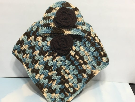 READY TO SHIP     Handmade Crocheted Toddler Poncho and Hat/Acrylic/Brown/Blue/Beige              Size 2 to 3 years