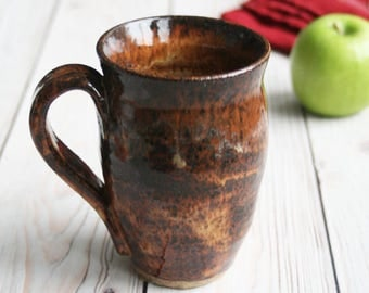 Handmade Rustic Stoneware Mug in Rich Speckled Brown Glaze Handcrafted Coffee Cup Ready to Ship Made in USA