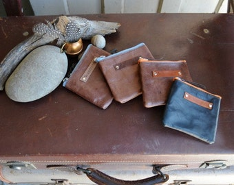 Kangaroo Leather Pouches - Small in Med Browns and Black