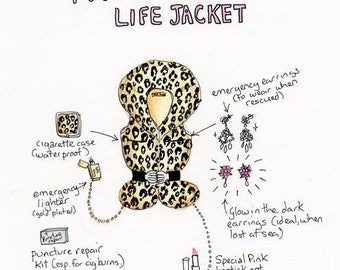 Pat Butcher lifejacket glittery greetings card