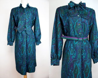 1970s Paisley Secretary Dress Long Sleeve Belted Ascot Teal Green Schrader Sport Medium Large