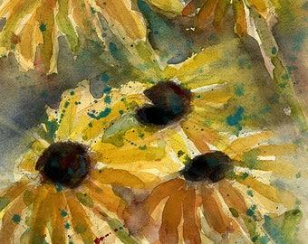 Sale Original Watercolor -  Flowers  7.5 x10-  Watercolor