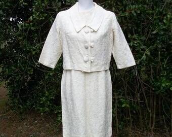 ON SALE 50s Ivory Dress and Jacket size Medium Large Puritan Forever Young Sleeveless Dress Cropped Jacket