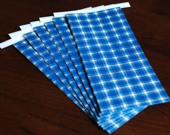 Blue Plaid Tin-Tie Bags - Set of 10