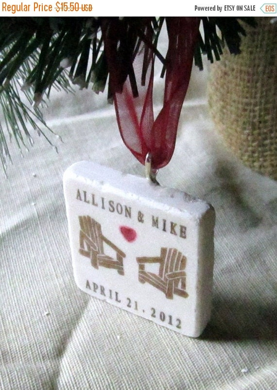 LuckySale Personalized Christmas Ornament, Adirondack Chair Love, including Gift Box