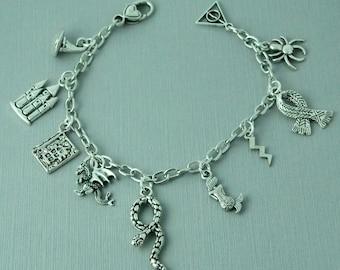 Harry Potter charm bracelet / silver charm bracelet