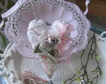 Valentine Heart - Fabric Heart Ornament - Valentine's Day Heart - Victorian Heart - Heart-shaped Valentine Ornament