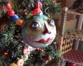 Folk art moon Face Head ornament with blue eyes Blue Moon face man in the moon ornament