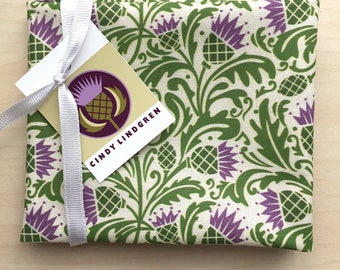 Morris Thistle Green & Purple Fabric, Fat Quarter, Spoonflower