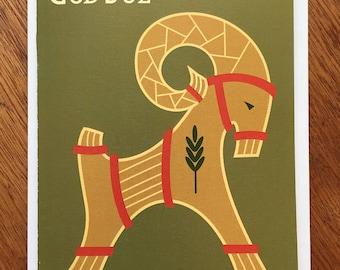 Julbock Holiday card, God Jul,