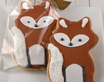 Fox Cookies - 12 Decorated Sugar Cookie Favors