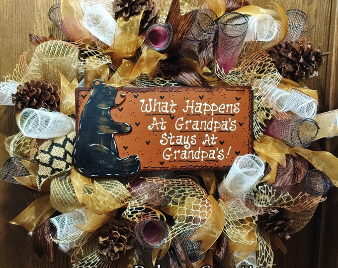 SALE- What Happens at Grandpas Stays at Grandpas - Welcome Door Wreath