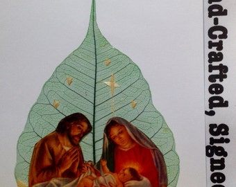 Christmas gift. Unique handmade Christmas nativity on a real leaf. Have U seen ancient & endangered leaf art. No two leaf or leaf art alike