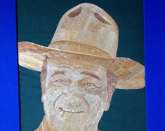 John Wayne handmade portrait with rice straw. Great gift to The DUKE fans, unique collectible art. Museum piece only one made Hollywood star
