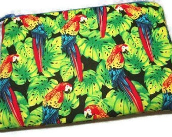 Parrot Zipper Pouch Little Coin Purse Padded Scarlet Macaws