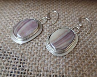 Wampum sterling silver earrings, purple and white shell, dangle earrings