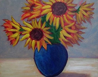 Holdren Art Impressionist RealismFloral Sunflowers Flower Acrylic Painting Aceo ATC Print Home decor
