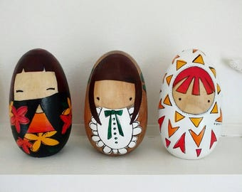 Folk Art Wooden Kokeshi Egg Doll ... Traditional kimono girl