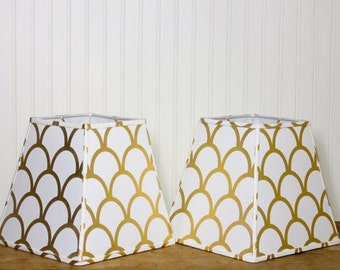 Modern Lamp Shade - Gold Scallop - Metallic - Cottage Chic - Caitlin Wilson - Buffet Lamp Shade - Square - Holiday