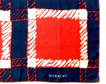 Givenchy Silk Scarf in Red White and Blue