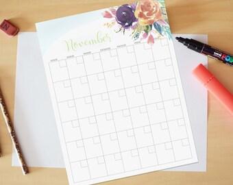 November Calendar, Printable calendar, Reusable printable calendar, perpetual, any year, printable DIY, letter size, 8.5 x 11