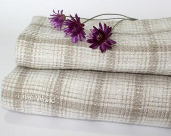 100% Linen Bath Towel. Natural Linen Waffle Weave Bathtowel / Beach Towel / Bath Sheet. Beige Sand checkered / plaid. Organic Flax