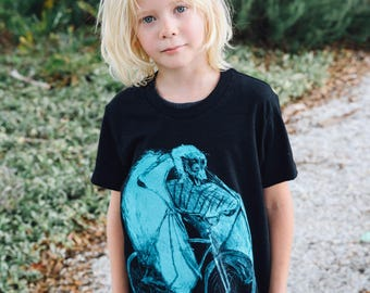 Bat on a Bicycle- Kids T Shirt, Children Tee, Black Tee, Handmade graphic tee, sizes 8-12