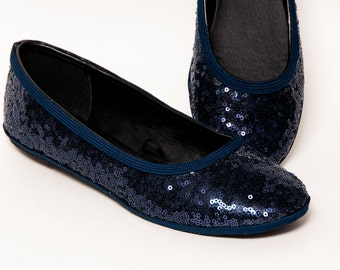 Sequin - Navy Blue Ballet Flats Slippers Sparkle Shoes
