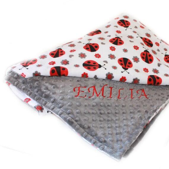 Personalized Baby Blanket Girl, Ladybug Blanket / Minky Baby Blanket  Baby Shower Gift  Name Blanket Baby Gift  Baby Girl  Receiving Blanket