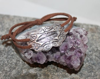 Bracelet in Fine silver, Sterling silver and leather, statement,hippie,boho, elegant,rocker,artisan,bangle,cuff,soutwestern, ships free!
