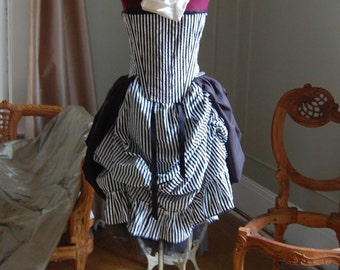 Victorian inspired bodice corset and skirt with bustle steampunk black and white striped