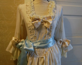Cotton and cream Marie Antoinette Victorian inspired rococo costume dress