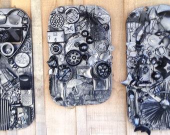 Black Collage Triptych