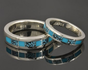 Turquoise Wedding Ring Set in Sterling Silver - Spiderweb Turquoise and Turquoise Wedding Set - Turquoise Wedding Rings