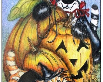 Cute kittens in Halloween costumes, pumpkins, jack o latern, package of four blank cards