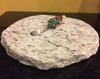 "Christmas Upcycled Granite Cheese Cutting Board - 9 x 9 x 1"" with Christmas Tree Cheese Knife #1"