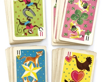 COMPLETE Deck Vintage Hearts Card Game Paper Craft Supplies 44 Playing Cards