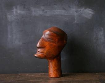 Wooden Head Sculpture Mid Century Modern Bohemian Fine Art Vintage From Nowvintage on Etsy