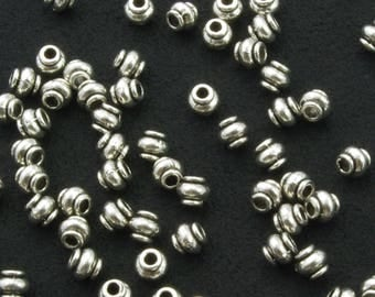 Pewter Oxidized Silver Plated Bali Style Spacer Beads 4mm  - 50