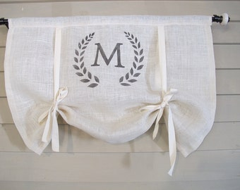 Monogram White Burlap 36 Inch Long Stage Coach Blind Swedish Roll Up Shade Tie Up Curtain Swag Balloon