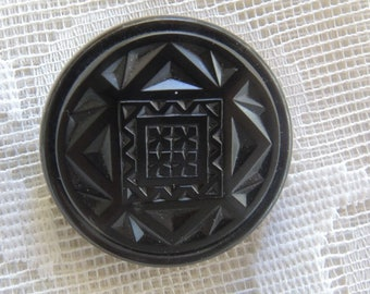 Vintage Black Glass Button - 1 3/8ths Button - Art Deco Button