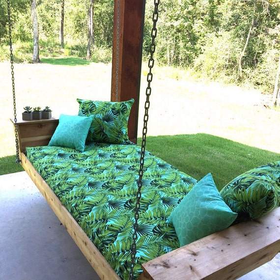 Custom Outdoor Bench Cushion with Coordinating Throw Pillow