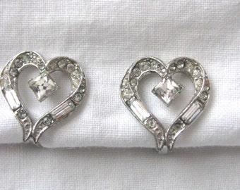 Vintage Albion silver & rhinestone heart clip earrings