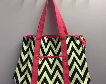 Personalized Black Chevron With Hot Pink Accents Oversized Tote Bag